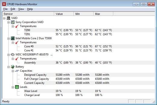 главное окно программы HWMonitor